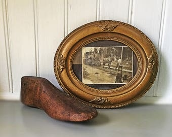 Antique Frame and Photo Railroad Engine