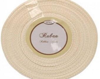 Lot de 2 Rouleaux de Ruban Satin Simple Face Pas Cher Ivoire 25 m X 6mm