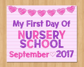 First Day of Nursery School Sign - First Day of School Sign - Pink Paper Hearts - 1st Day of School Photo Prop - September 2017