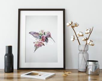 Hummingbird Art, Hummingbird Print, Hummingbird Decor, Hummingbird Poster, Wall Art, Hummingbird Wall Art, Bird Art, Bird Print