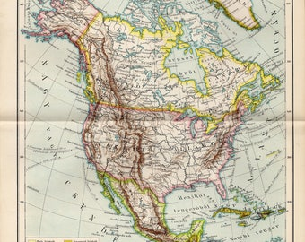 Antique political map of North America from 1893