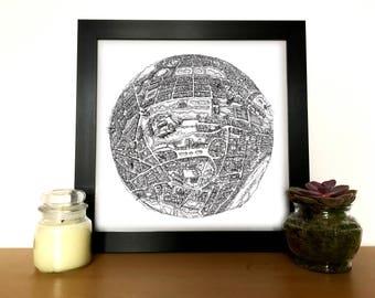 Hand Drawn Edinburgh 3D Globe Map Art // Edinburgh Print // Birthday gifts // Graduation gifts // Housewarming gifts // Christmas gifts