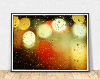 Abstract Lights - Printable Art, Colorful Art Print, Abstract Home Decor, Confetti Lights Water Drops, City Lights Art, Abstract Wall Art