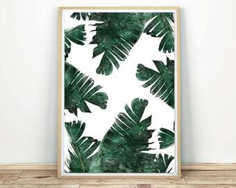 Palm Leaves - Printable Modern Art, Palm Leaf Art, Green Leaves Decor, Tropical Art Print, Modern Wall Art, Banana Leaf Poster