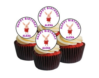 24 X Personalised  with Any Name Happy Birthday Olivia pig  TV  Edible Cake Decorations Cupcake Toppers #1