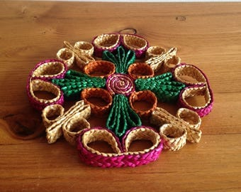underneath of natural fiber dish - vintage
