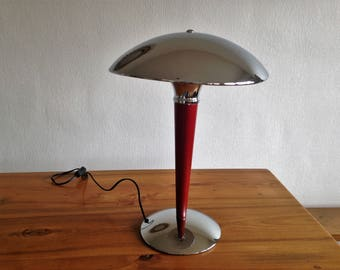 Lamp fungus in chrome and red wood - 1970