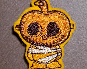 Cute Pumpkin Mummy Feltie - Embroidery Design 4x4 hoop Instant Download. Felties. Halloween Feltie.