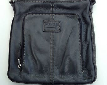 Fossil Vintage Black Leather Crossbody
