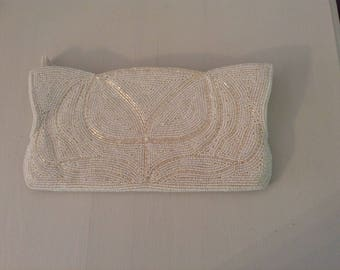 Vintage Off White Hand Beaded Evening Bag