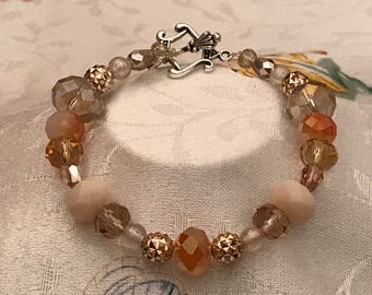 Stunning Peach & Coral Bracelet with Silver Gold Accents