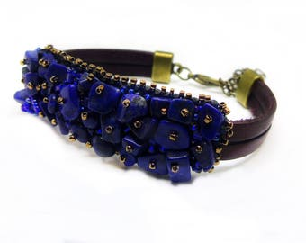 Third eye chakra bracelet Ajna, lapis lazuli bracelet, bead embroidery bracelet, casual bracelet, healing bracelet, blue bracelet
