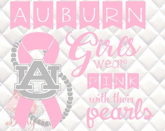Auburn Tigers Pink and Pearls - Breast Cancer Awareness - SVG, Silhouette studio and png bundle