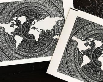 World Map Mandala - Sticker Design