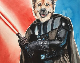 Dog Character Painting-Dog Portraits-Custom Watercolor Pet Portrait-Unique Gift-Funny-Pet Portrait-Darth Vadar-Starwars