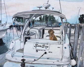 Custom Boat Painting-Option to have Dog and/or people-Watercolor Boat Portrait