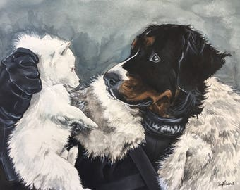 Dog Character Painting-Dog Portraits-Custom Watercolor Pet Portrait-Unique Gift-Game of Thrones-Jon Snow