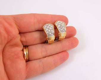 Vintage Sparkly Earrings - Gold And Silver Tone Rhinestone Clip On Earrings, Vintage 1980s Earrings, Vintage Costume Jewellery