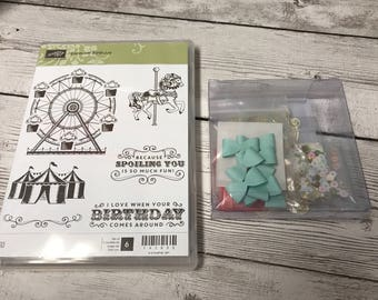 Stampin Up Carousel Birthday stamp and cupcakes & carousels embellishment kit new retired