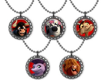 5 FERDINAND the Friendly Bull Movie 3D Bottle Cap Necklace Birthday Party Favors