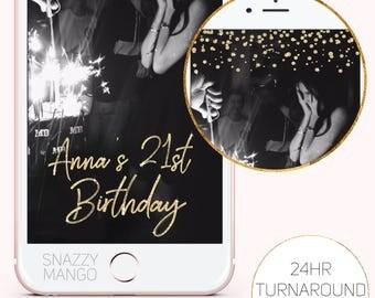Birthday Snapchat Filter, Gold Glitter Birthday Geofilter, Birthday Snapchat Filter, Custom Birthday Geofilter, Gold Birthday Geofilter.