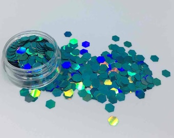 Holographic Teal Cosmetic Grade Festival Hexagons - Cruelty Free