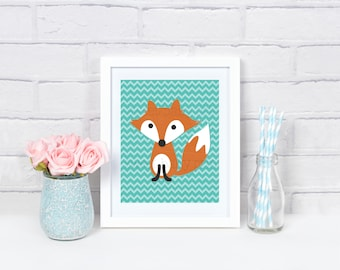 Chevron Fox Print, Nursery Wall Art