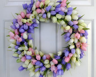 Tulip Wreath Spring Wreaths for Font Door Decorations Summer Door Wreaths Summer Wreaths for Front Door Wreaths Year Round Wreaths