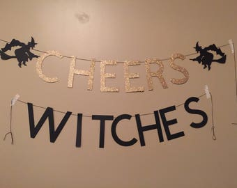 Cheers Witches Banner-Free Shipping (halloween, party, halloween banner, halloween decoration, halloween party)
