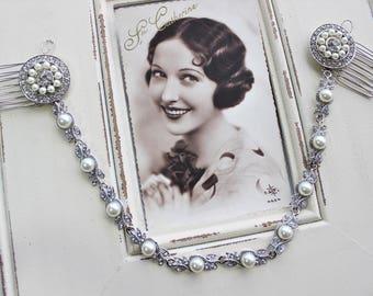Art Deco Head Chain ,Art Deco Hair Comb , Art Deco headpiece, Vintage Style  Hair Comb,  Bridal Headpiece, Wedding Hair Chain