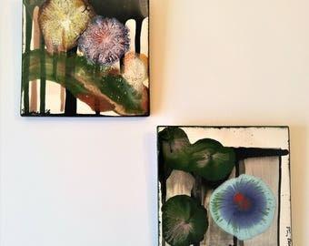 "3 Wishes Box Garden - 6"" x 6""  Set Original Abstract Ceramic Painting"