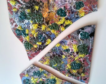 "Life On Mars - 17"" x 21"" Original Abstract Ceramic Painting"