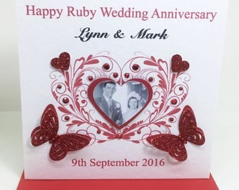 Personalised Handmade Ruby Wedding Anniversary Photo Card - 40 years