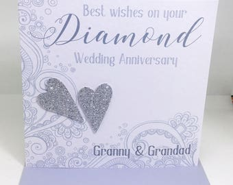 Personalised Handmade Diamond Wedding Anniversary Card - 60 years