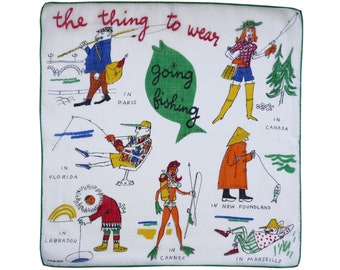 "Hankie ""the thing to wear going fishing"" Fifties 50s Vintage KREIER Swiss"