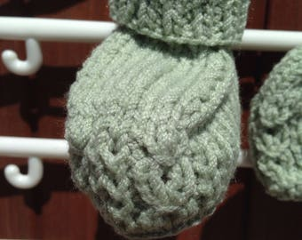 Baby hand knitted hat, mitts and bootees