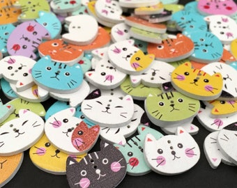6 Cat Wooden Buttons, Kitten,Feline,Kitty,20x16mm,Face,Whiskers,Animal,Pets,Home,Craft