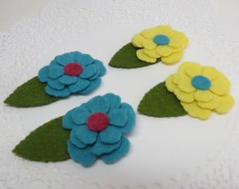 Felt flowers, felt appliques, 4 felt flowers set