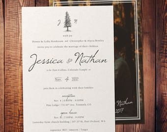 Nature Inspired Customizable Hand-Drawn Wedding Invitation