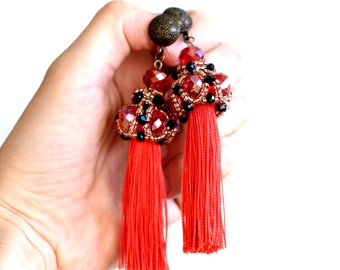 "Red earrings, long earrings, tassels earrings, beautiful earrings from beads and crystals, boho-chic earrings ""Chloe"""