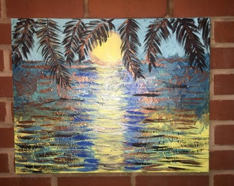 Original acrylic painted canvas Sunset 16x20 blue turquoise yellow water sunset canvas