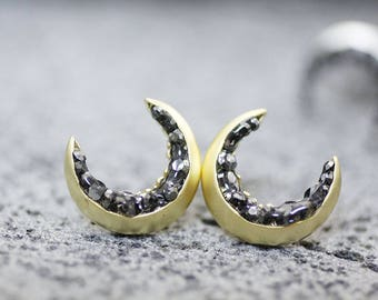 Crescent moon stud Earrings detailed with Black Diamond Crystals, Crescent moon Earrings