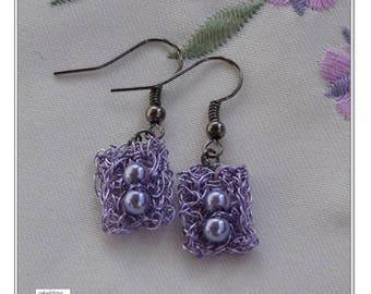 Crochet Wire Earrings / Wire Jewelry / Purple Earrings / Dangle Earrings / Modern Earrings / Beaded Earrings / Fashion Earrings / Women Gift