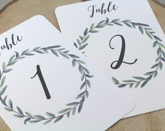 Table Number Card // Foliage Wreath // Greenery Table Number // Rustic Wedding Table Numbers