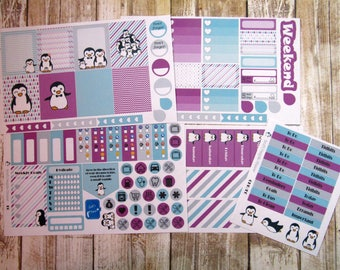 Penguin Weekly Planner Sticker Set, ERIN CONDREN stickers, Penguin Weekly, Penguin Planner stickers, weekly planner sticker set