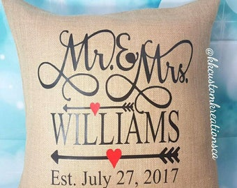 Mr. and Mrs. Pillow Cover, Custom burlap Pillow, Anniversary Gift, Wedding Gift, Mr and Mrs Mr and Mrs pillow- Personalized wedding pillow