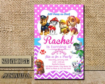 Paw Patrol Invitation / Paw Patrol Girl Invitation / Paw Patrol Girl Birthday / Paw Patrol Girl Birthday Invitation / Paw Patrol Girl Party