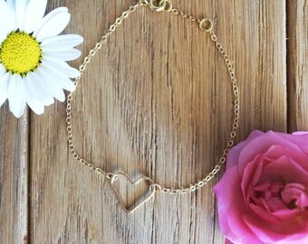 """Pretty heart"" 14 k gold filled - bracelet - gold - gold filled bracelet"