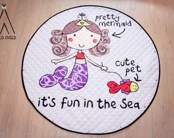 Mermaid Print, pack and play, toy organizer, Lego organizer, storage, Cotton, Anti-slip, Kids Room Décor, Play Mat, toys bag