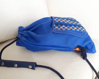 Blue backpack leather - backpack